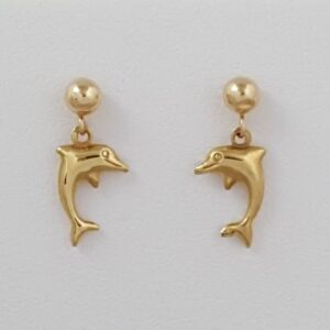 Dangling Dolphin Ball Post Earrings 14kt Yellow Gold 1/2 inch