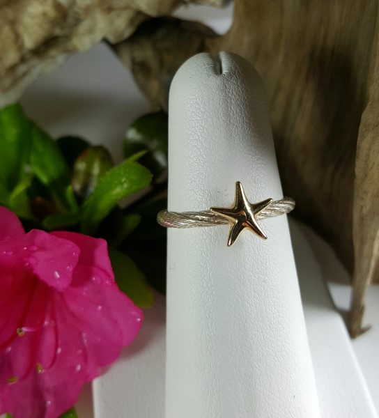 Starfish Ring 14kt Yellow Gold on Sterling silver band sizes 5-8