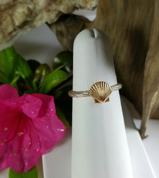 Scallop Ring 14kt Yellow Gold on Sterling silver band sizes 5-8