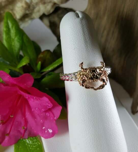Crab Ring 14kt Yellow Gold on Sterling silver band sizes 5-8
