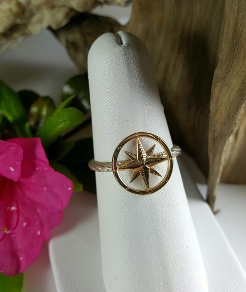 Compass Rose Ring 14kt Yellow Gold on Sterling silver band sizes 5-8