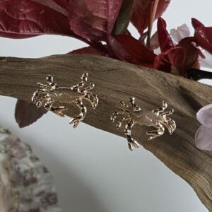 """Chesapeake Blue Crab Post Earrings, 14kt Solid Gold 1/2"""""""