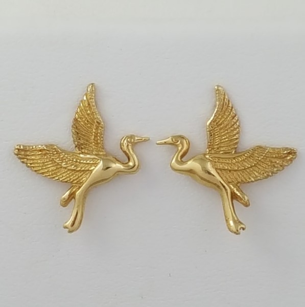 Heron Post Earrings 14kt Yellow Gold 3/4 inch