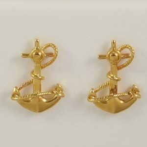 Fouled Anchor Post Earrings 14kt Yellow Gold 1/2 inch
