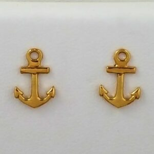 Anchor Post Earrings 14kt Yellow Gold 3/8 inch
