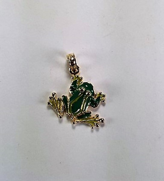 Tree Frog Pendant Green Enameled 14kt Yellow Gold 3/4 inch