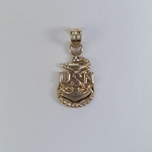 Fouled Anchor USN Pendant 14kt Yellow Gold 1 inch