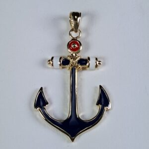American Enameled Anchor Pendant 14kt Yellow Gold 1-1/2""