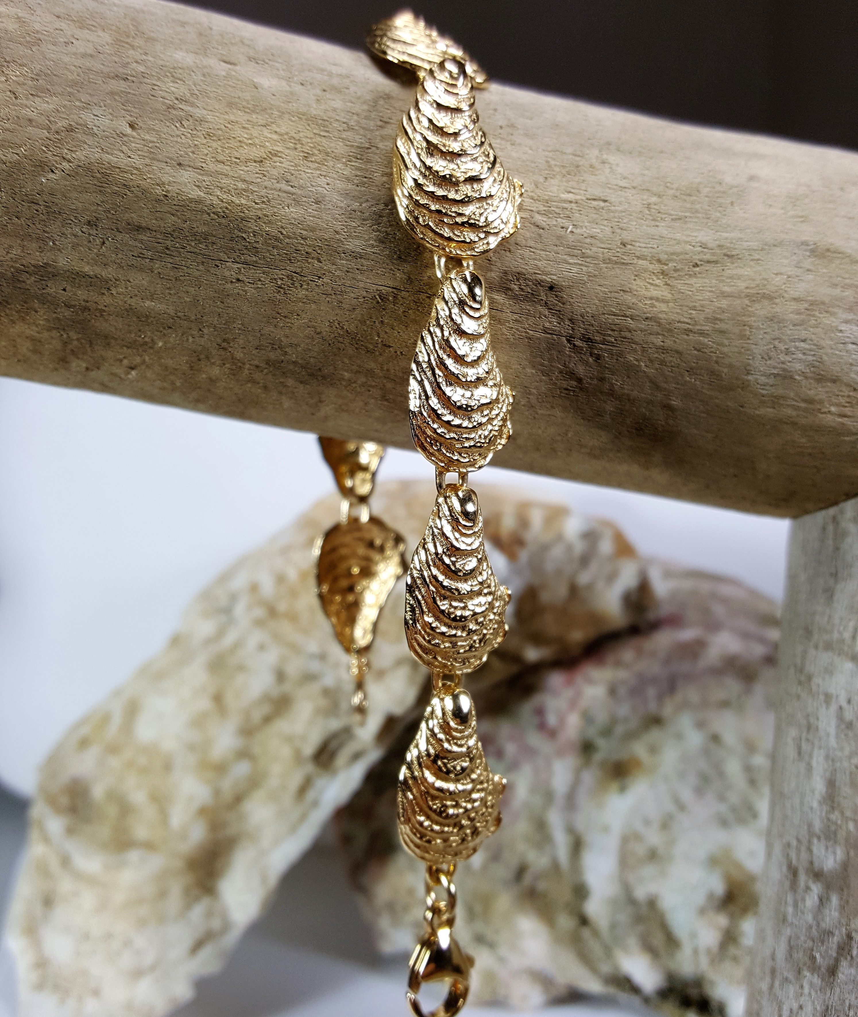 Oyster Bracelet Sterling Silver with Gold vermeil 7-8 inch
