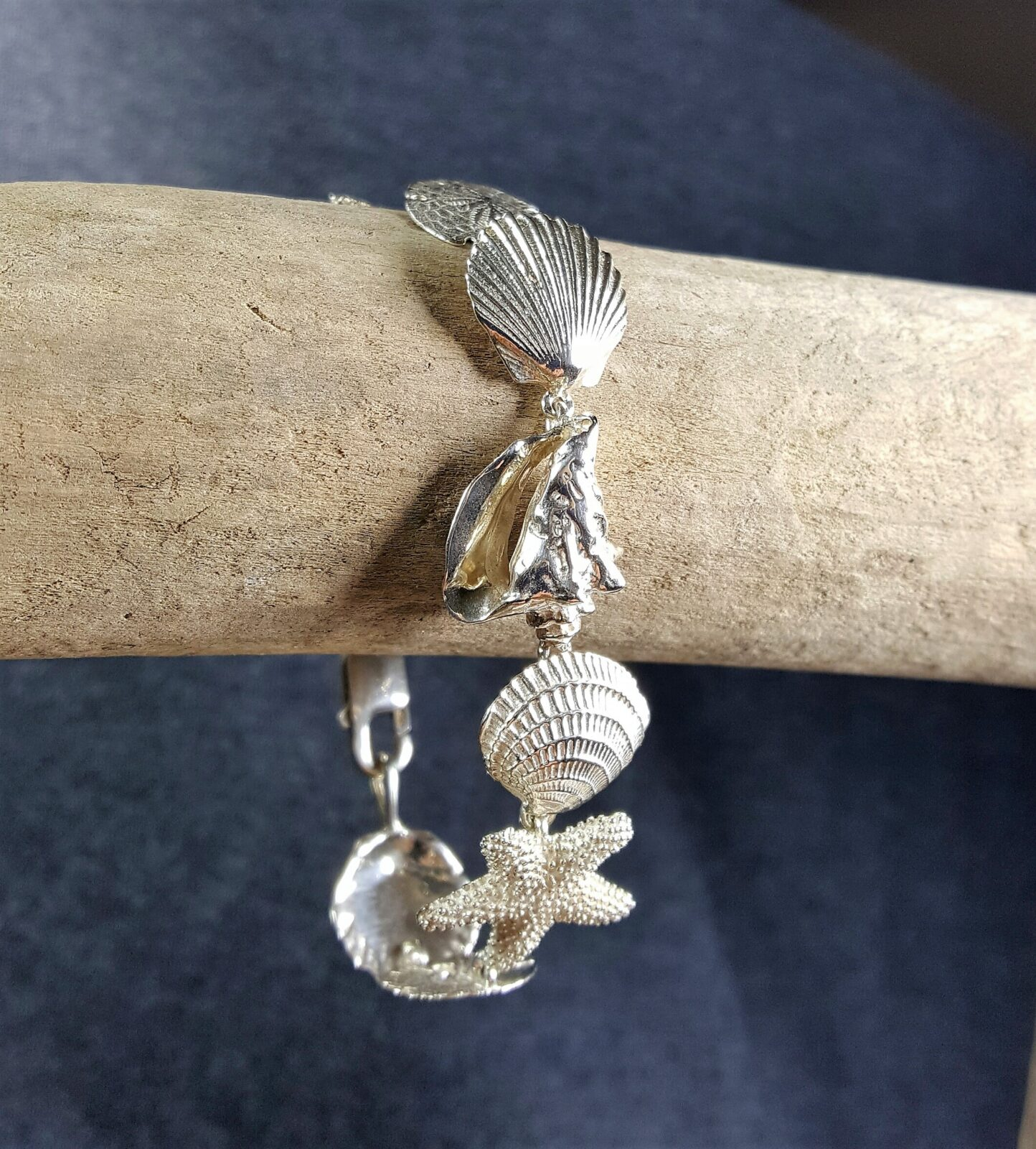 Conch Clam Starfish Sand Dollar & Scallop Bracelet Sterling Silver sizes 7-8 inch