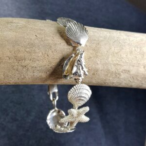 Scallop, Sanddollar, Starfish & Conch Bracelet Sterling Silver 7-1/4 inch