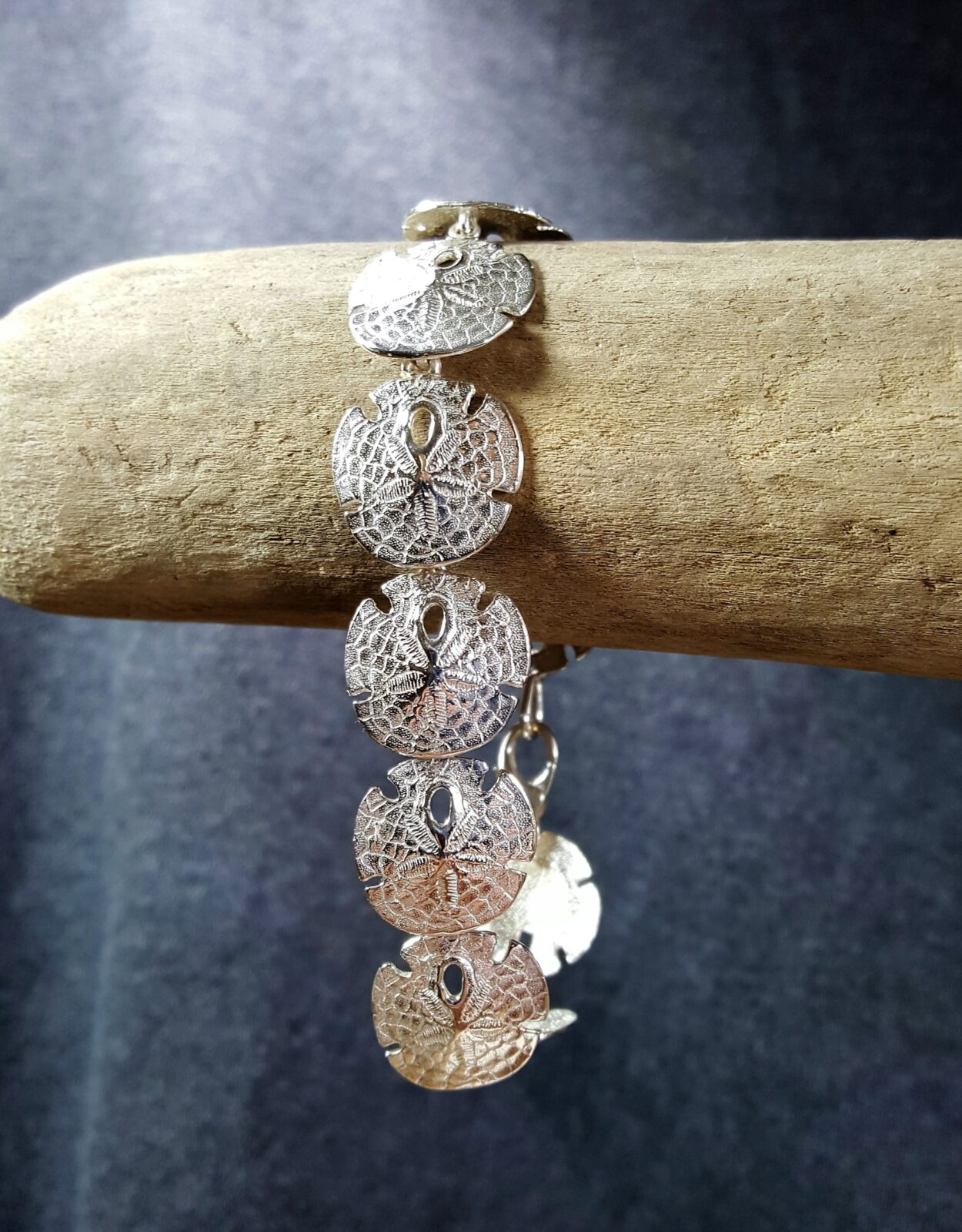 Sand Dollar Bracelet Sterling Silver sizes 7-8 inch