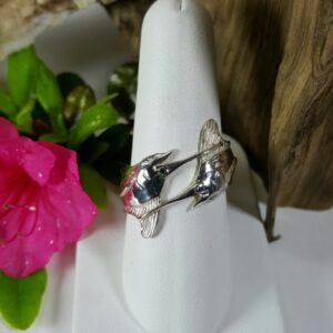 Double Marlin Ring Sterling Silver w Sapphire Eye's sizes 6-10