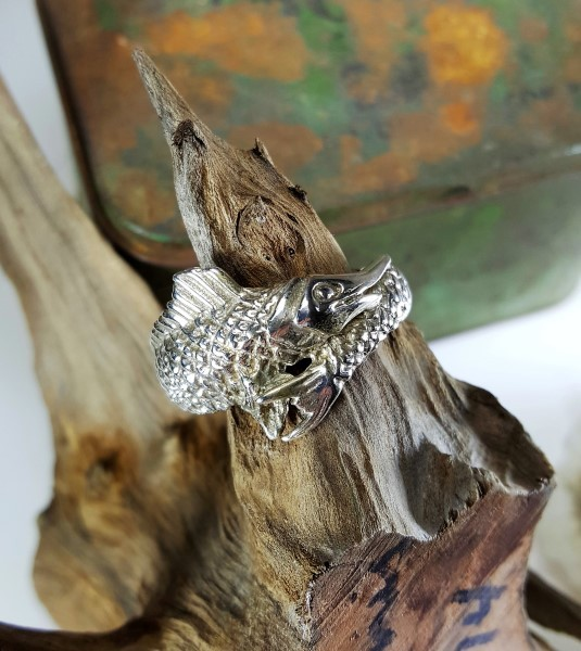 Heavy Marlin Ring Sterling Silver sizes 8-15
