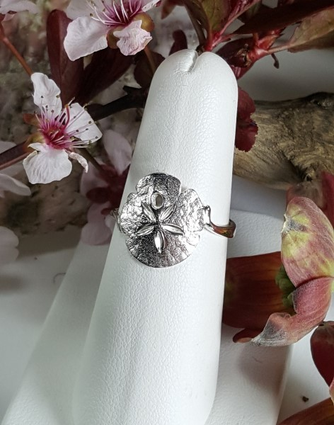 Sand Dollar Ring 1/2 inch Sterling Silver sizes 5-8