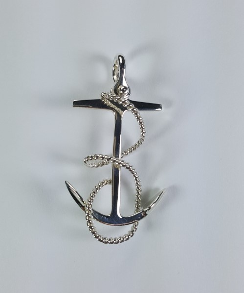 Fouled Anchor Pendant with Shackle Bail 2 inch Sterling Silver
