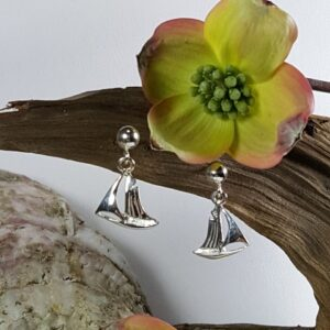 Skipjack Ball Post Dangle Earrings Sterling Silver