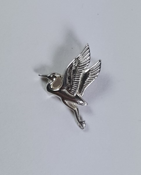 Heron Pendant Flying Sterling Silver 3/4 inch