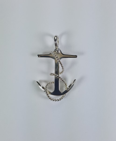 Fouled Anchor Pendant with Shackle Bail 1-3/4 inch Sterling Silver
