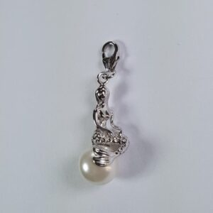 Mermaid on Pearl Pendant/charm Sterling Silver 1-1/2 inch w lobster clasp