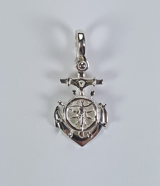 Mariner's Cross Anchor Pendant w Shackle Bail 1-1/4 inch Sterling Silver