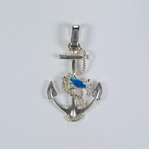 Chesapeake fouled Crabby Anchor Sterling Silver blue enamaled crab medium 1-1/2""