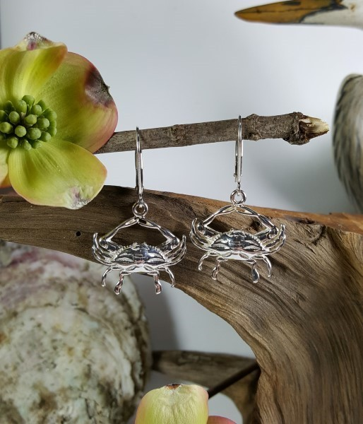 Blue Crab Earrings with Leverbacks Sterling Silver 1 inch