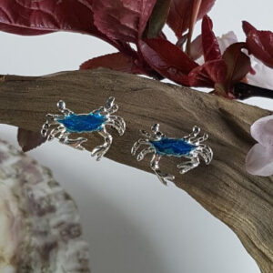 Crab Post Earrings, Sterling Silver Blue Enameled 1/2 inch