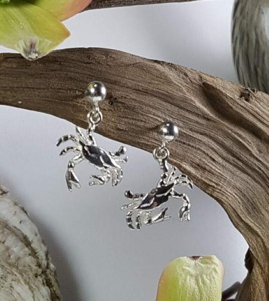 Dangling Crab Ball Post Earrings Sterling Silver 1/2 inch