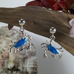 Dangling Crab Ball Post Earrings Enameled Sterling Silver 1/2 inch