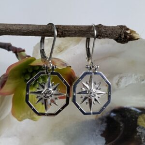 Compass Rose Earring with Shackle Leverback Sterling Silver 1 inch