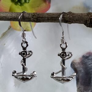 Fouled Anchor Earrings Sterling Silver 7/8 inch French wire