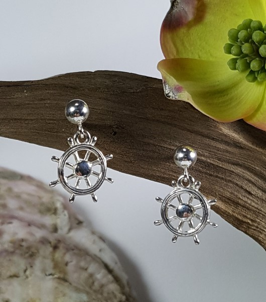 Ships Wheel Ball Post Earrings Sterling Silver 7/16 inch