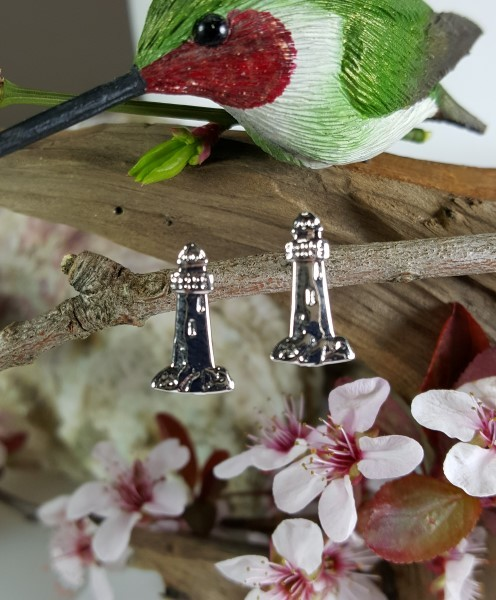 Lighthouse Earrings post Sterling Silver 3/4 Inch