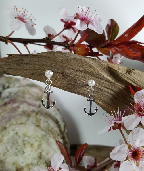 Anchor w/Pearl Ball Post Earrings Sterling Silver 1/2 inch French wire