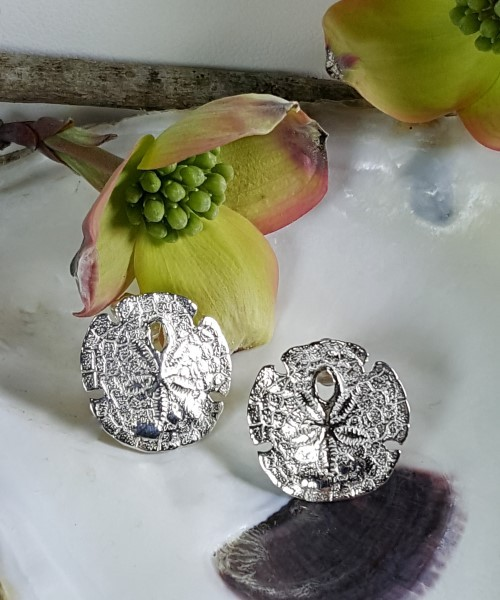 Sand Dollar Post Earrings Sterling Silver 5/8 inch