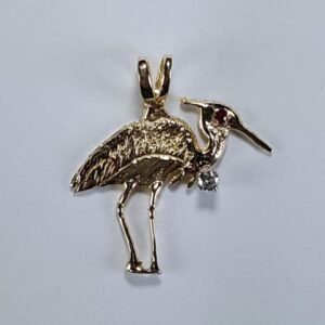Fishing Heron 14kt Yellow Gold with Ruby Eye & .10 Diamond 1-1/4 inch
