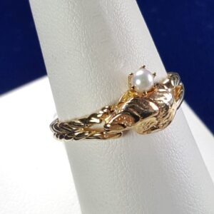 Oyster Ring with 3mm Cultured Pearl 14kt Yellow Gold Sizes 6-8