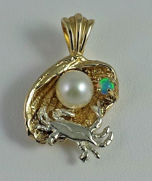 Chesapeake Clam Shell Pendant cast in solid 14kt Yellow Gold with 4mm Austrailian Opal, 5mm Akoya Pearl and Sterling Silver blue crab medium 1""