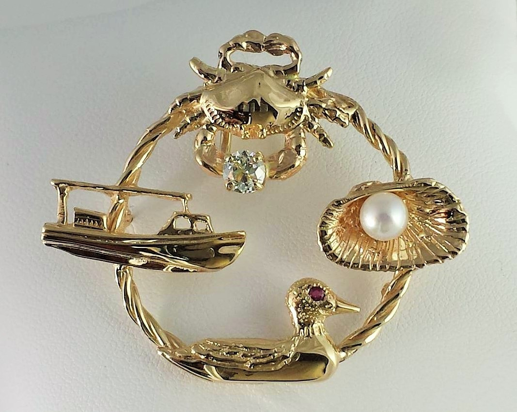 Chesapeake Oracle Pendant/Slide 14kt Yellow Gold .10ct SI2 G-H Diamond Ruby Eye 3mm Cultured Pearl 2-1/4 inch