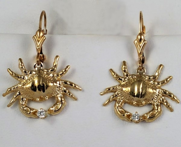 Bailey Crab Earrings with Leverbacks 14kt Yellow Gold w .10ct tw Diamond 1 inch