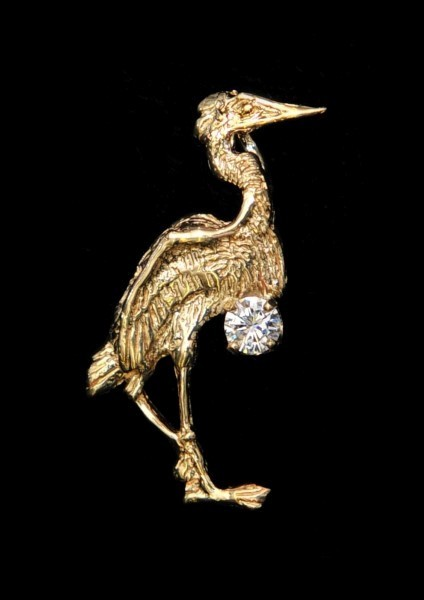 Standing Heron Pendant 14kt Yellow Gold with Ruby Eye and .10ct SI2 GH Diamond 1-1/4 inch