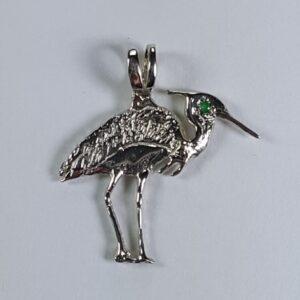 Fishing Heron Pendant Sterling Silver with Gemstone Eye