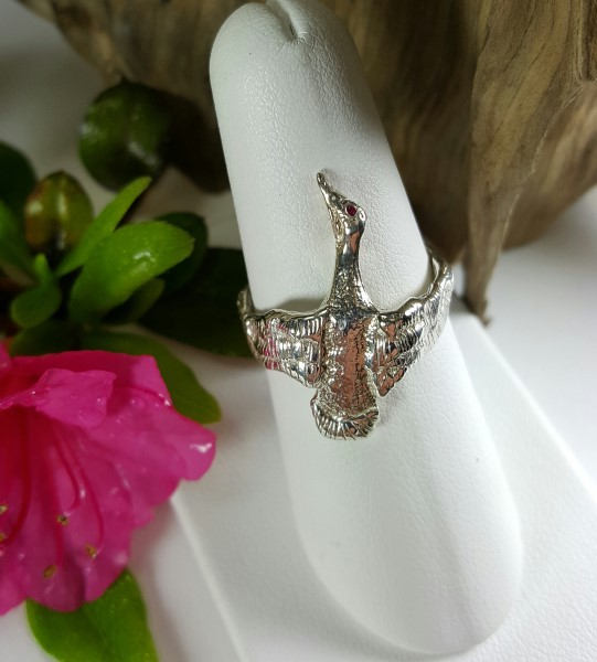 Flying duck Ring Sterling Silver w Ruby Eye sizes 6-10