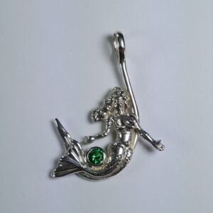 Mermaid on Hook Pendant Sterling Silver with Gemstone 1-1/4 inch