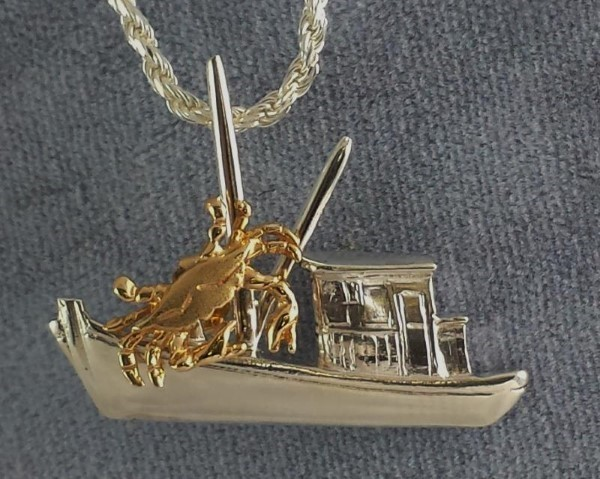 Buy Boat Pendant Sterling Silver with 14kt Yellow Gold Blue Crab 1-1/4 inch