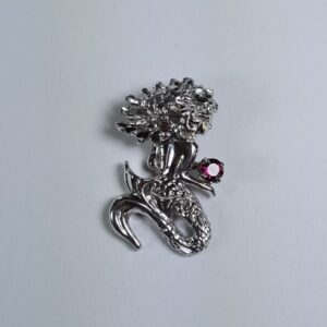Mermaid Slide Diamond Cut w 4mm Garnet Sterling Silver 1 inch