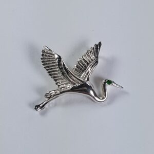 Flying Heron Pendant w Gemstone Eye Sterling Silver 1 inch