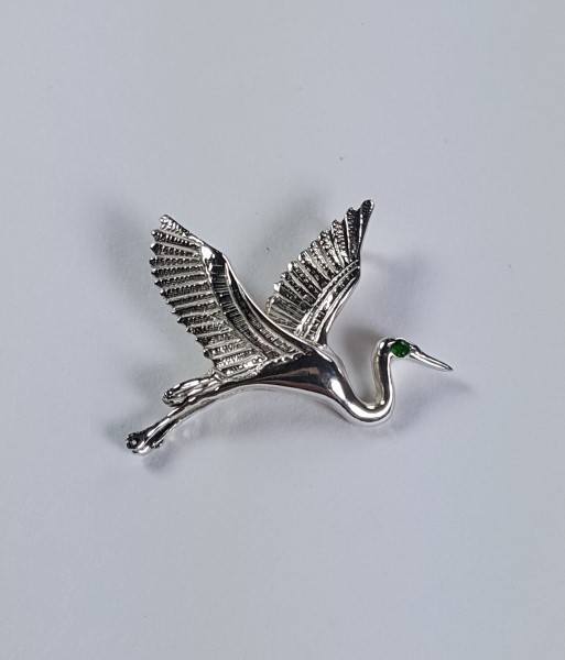Flying Heron Pendant w Gemstone Eye Sterling Silver 1 inch
