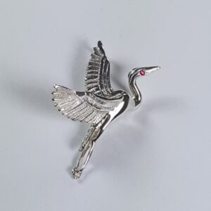 Flying Heron Pendant w Gemstone Eye Sterling Silver 1-3/4 inch